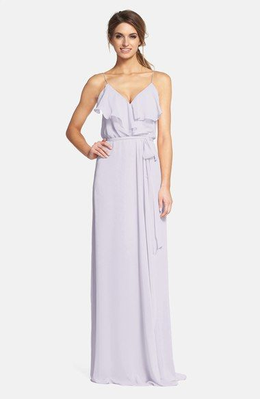 POWDER - nouvelle AMSALE 'Drew' Ruffle Front Chiffon Gown available at #Nordstrom