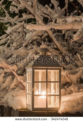 Lantern with a candle and snowy branches - stock photo