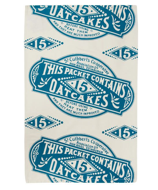 Teal Victorian Oatcakes Organic Tea Towel, Gillian Kyle. Shop more from the Gillian Kyle collection online at Liberty.co.uk