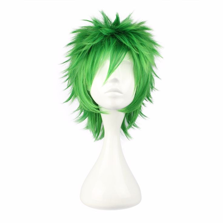 MCOSER 32cm Short Synthetic Green Male Wig  100% High Temperature Fiber Hair WIG-258A #Affiliate