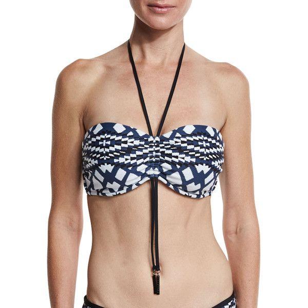 Seafolly Modern Tribe Bandeau Swim Top ($112) ❤ liked on Polyvore featuring swimwear, bikinis, bikini tops, scrunch bikini, underwire swim tops, bandeau swim tops, halter bikini and underwire halter bikini