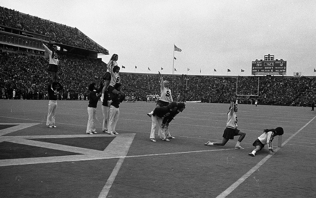 Cheerleaders at the MSU vs Ohio State game, 1972 by Michigan State University Archives, via Flickr
