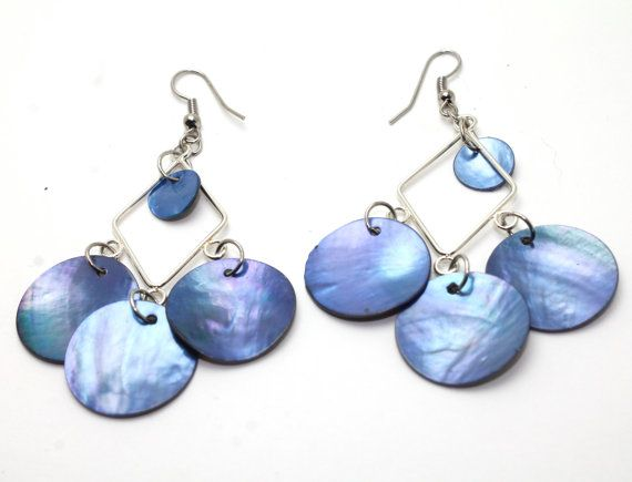 Blue Mussel Shell Diamond Chandelier Earrings by boutiqueofcin