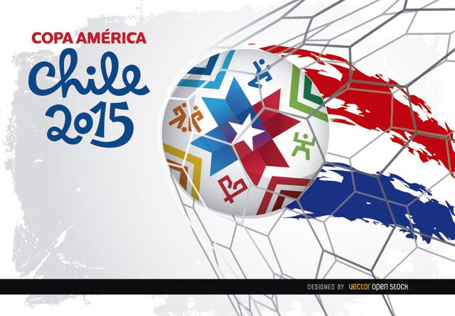 Another awesome wallpaper for promoting Copa America Chile 2015: this shows the official soccer ball hitting the goal net and leaving a painted wake with colors of Chilean flag; the official logo for the championship is on the left above a white and gray grunge backdrop. High quality JPG included. Under Commons 4.0. Attribution License.