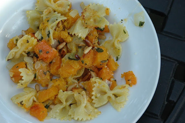 Pasta Pan-Fried with Butternut Squash, Fried Sage, and Pine Nuts