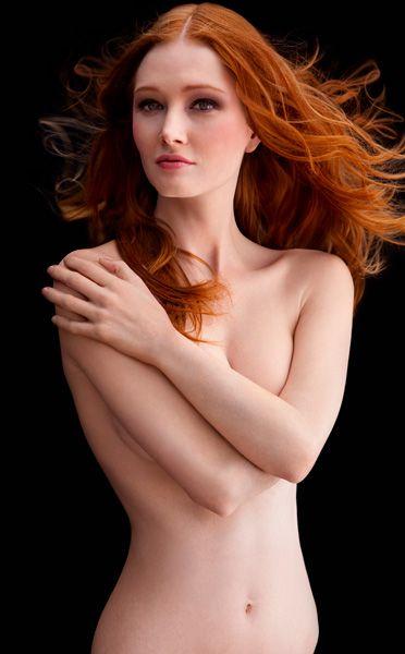 redhead bright red lipstick nude