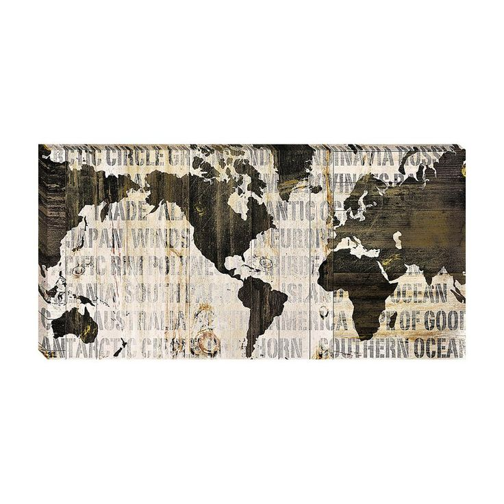 Home Decorative Crate World Map Neutral by Sue Schlabach Framed Art Print