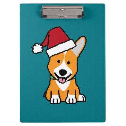 #Corgi dog puppy Pembroke Welsh Christmas Santa hat Clipboard - #pembroke #welsh #corgi #puppy #dog #dogs #pet #pets #cute #pembrokewelshcorgi