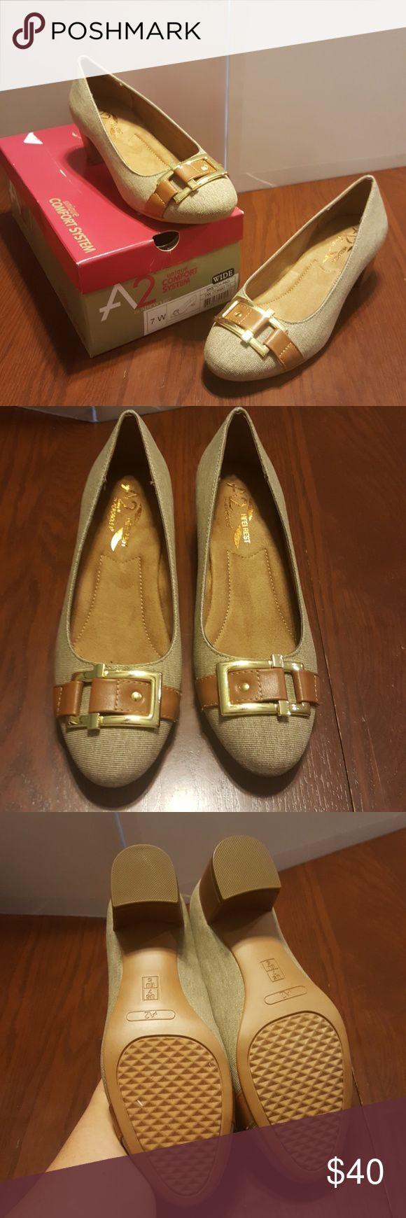 A2 Aerosoles 7W Sketch Pad Tan chunky heel NWT Adorable!  Makes your feet happy! AEROSOLES Shoes Heels
