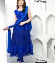 Buy Blue brasso net semi stitched salwar with dupatta anarkali-salwar-kameez online