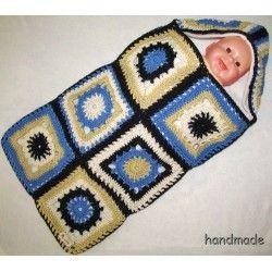 cocoon baby, ručně háčkovaný patchwork kokon pro miminko s fleece vložkou, spací vak, pytel, fusak; knitting baby sleeping bag, hood