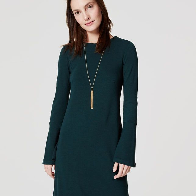 Loft Green Soft Bell Sleeve Dress