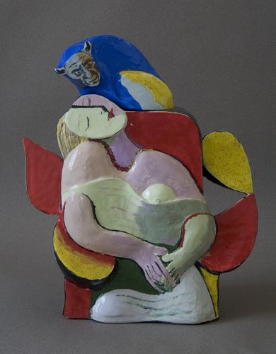 Teapot After Picasso by Noi Volkov. Press molded earthenware, hand sculpted, hand painted, glazes, oxides, & under glazes / http://www.noivolkov.net/