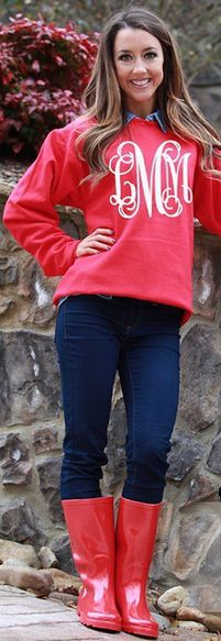 #OOTD Perfection! Red Monogrammed Crewneck Sweatshirt paired with Red Rain Boots