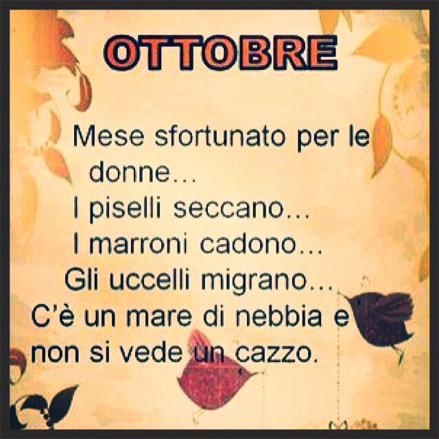 HA! October... unlucky month for women ... The dry peas .... brown fall ... the birds migrate ... there is a sea of fog and you can not see shit