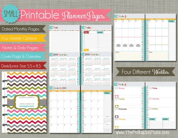 "2014 Small PolkaDotPosie Signature {Printable} Planner Pages - Calendar Year - Sized 5.5"" x 8.5"" PDF"