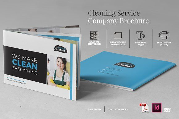 Cleaning Service Company Brochure A5 by misterRyArt™ on @creativemarket
