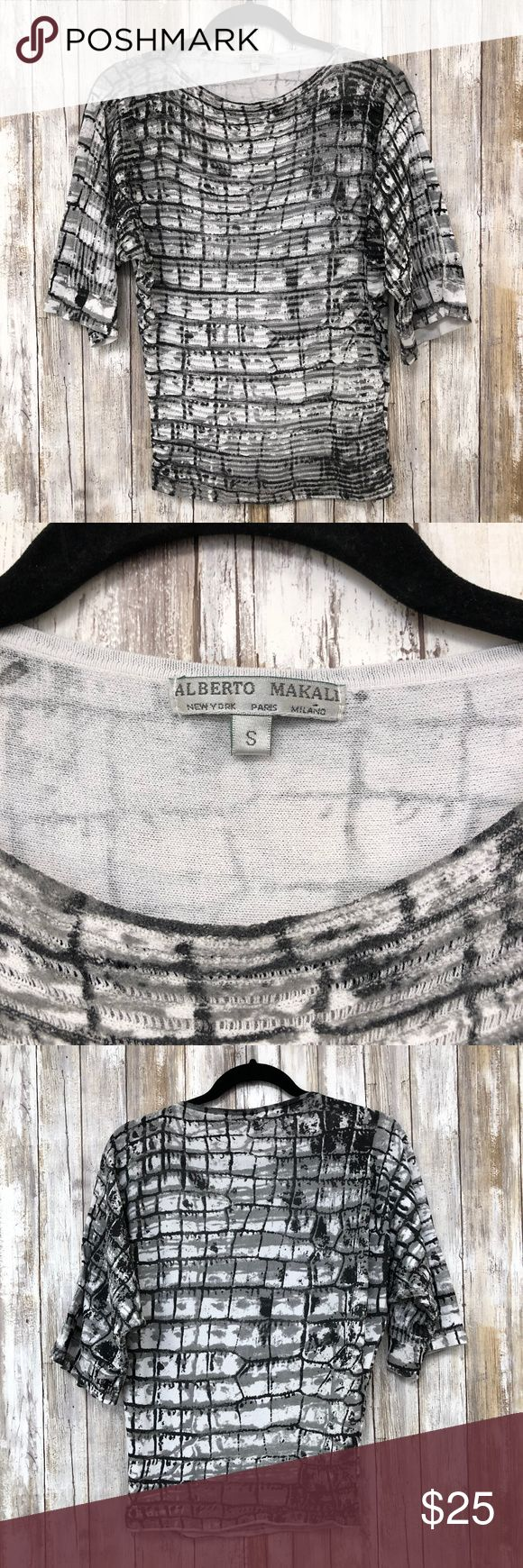 Alberto Makali S Black and White Short Sleeve Top Black and white short sleeve top.  Funky print makes for a gorgeous casual top. Alberto Makali Tops