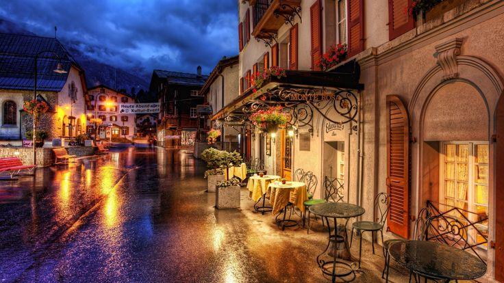 2560x1440 Wallpaper switzerland, street, cafes, evening, hdr
