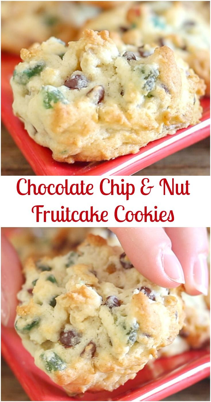 Fruitcake Cookies Filled With Candied Fruit Chocolate Chips And