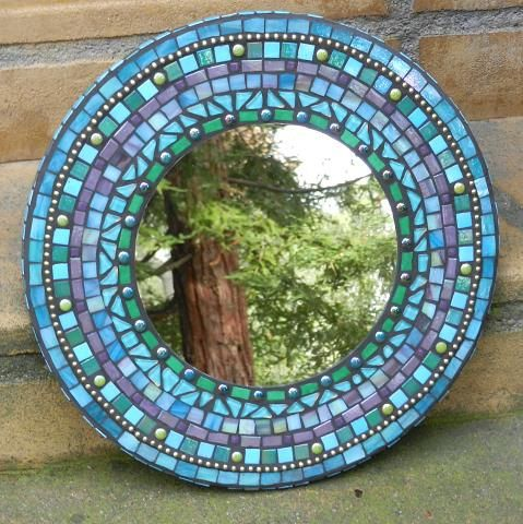 Purple and Blue Mosaic Round Mirror - Stained Glass with Ball Chain, Wall Art, Greens, Violet