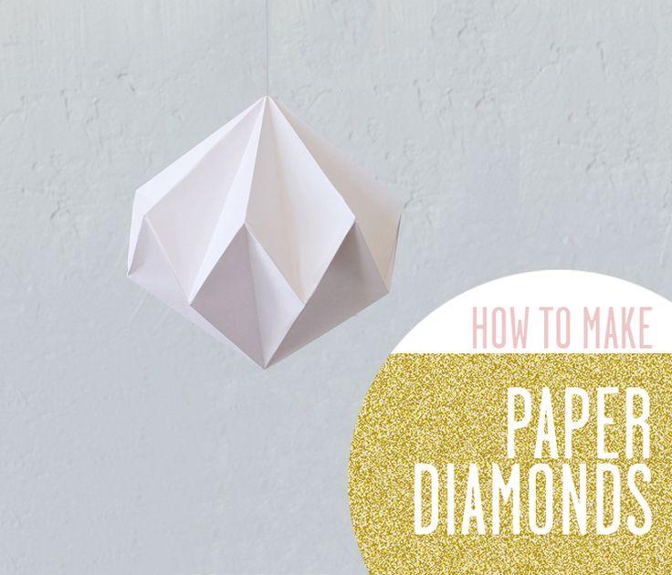 Via Ann Meer | DIY Paper Diamond | Tutorial: http://ann-meer.blogspot.com.es/2012/07/diy-paper-diamontcrystal.html