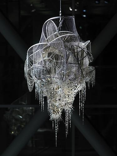"""""""Chandelier-like"""" sculpture - crystal, glass and acrylic beads on nickel-chrome wire, stainless steel - """"Sternbau No. 4"""" by artist Lee Bul, 2007"""