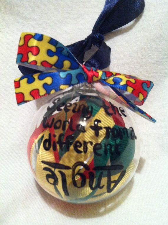 Hand painted glass ornament, Christmas ornament, Autism Ornament