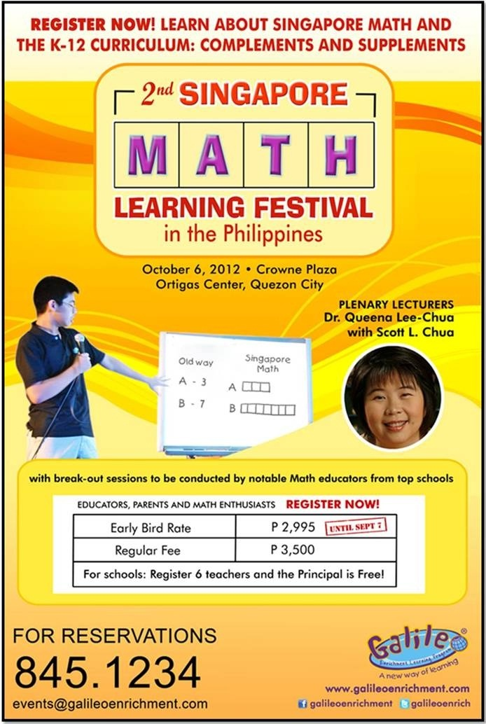 2nd Singapore Math Learning Festival this October 2012! (Details on how to catch the Early Bird Discount)