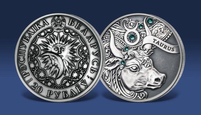 Srebrna moneta z kryształkami Swarovskiego - Byk