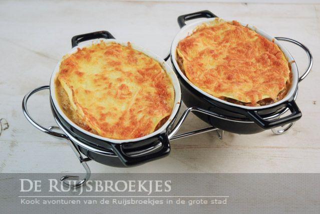 Saucijzen champignons lasagne pannetje
