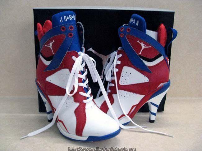 Womens Air Jordan Retro 7 High Heels Black White Red shoes