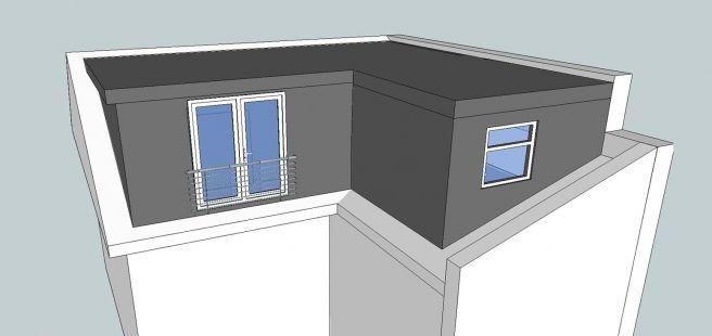 L-shaped dormer loft conversion (continue above bathroom)