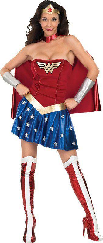 Wonder Woman™-Kostüm für Damen: Das Wonder Woman™-Kostüm für Damen besteht aus einem blauen Satinrock mit aufgedruckten Sternen, einem goldfarbenen Gürtel, einem Bustier mit dem Wonder Woman™-Logo, einem...