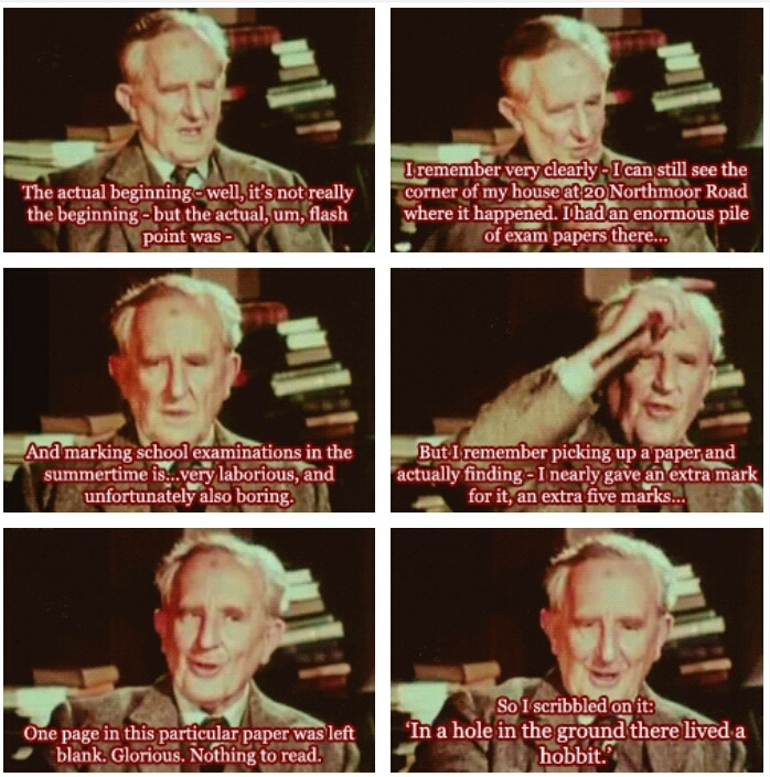 The Hobbit: Tolkien talking about the start of The Hobbit. If only all our procrastinations could result in a masterpiece of fantasy literature. (gif)