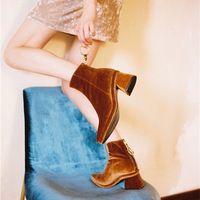 LALA IKAI женщин бархат ботильоны черный/зеленый/коричневый Металлическое кольцо молнии med туфли на каблуках для женщин люксовый бренд дизайн XWN1200