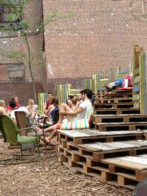 Extra seating from wood pallets | PHS Pop-up Beer Garden