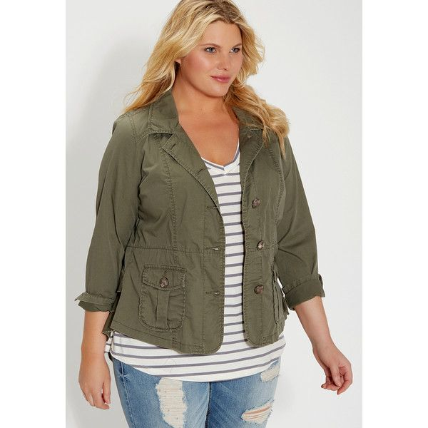 maurices Plus Size - Military Jacket With Ruffled Back ($54) ❤ liked on  Polyvore - Best 25+ Plus Size Military Jacket Ideas On Pinterest Larger