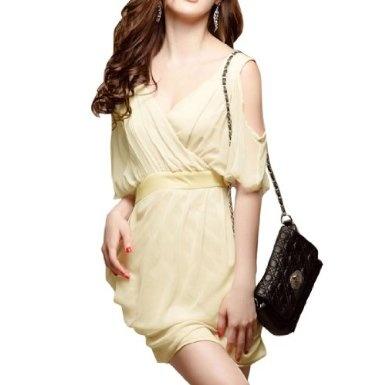Women Cutout Sleeve Crossover V Neck Beige Chiffon Dress XS