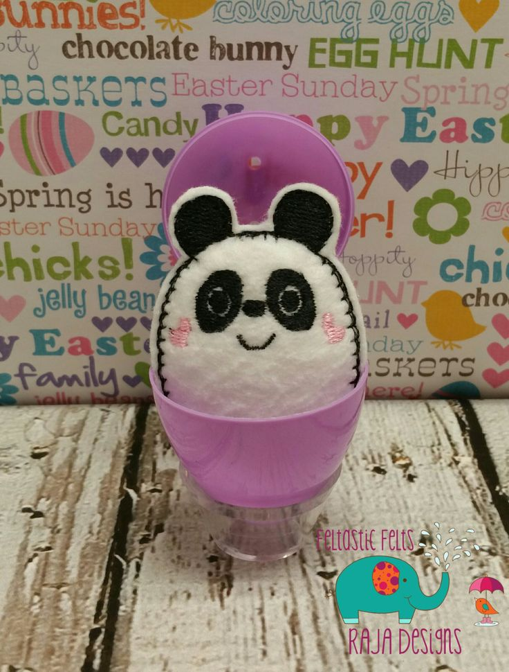 Tiny stuffed panda egg buddy, embroidered, party favor, stuffed animal, stuffie, travel toy, stuffed toy, embroidery, grab bag, easter by DesignsByRAJA on Etsy