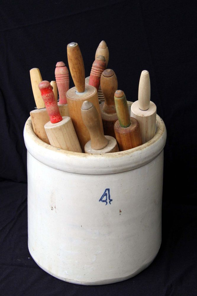 Lot of 11 Vintage Antique Wood Rolling Pins w  4 Gallon Crock Stoneware Folk Art