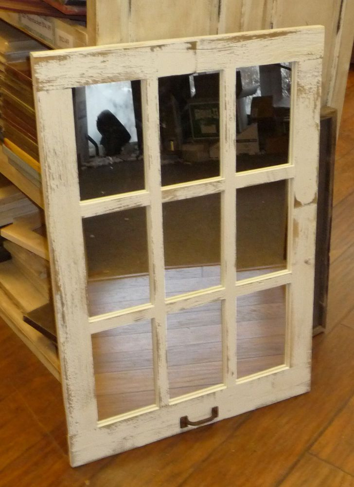 Barn Wood 9-Pane Window Mirror Vertical Rustic Home Decor Mirror (Many Colors!) #Custom #RusticCountry