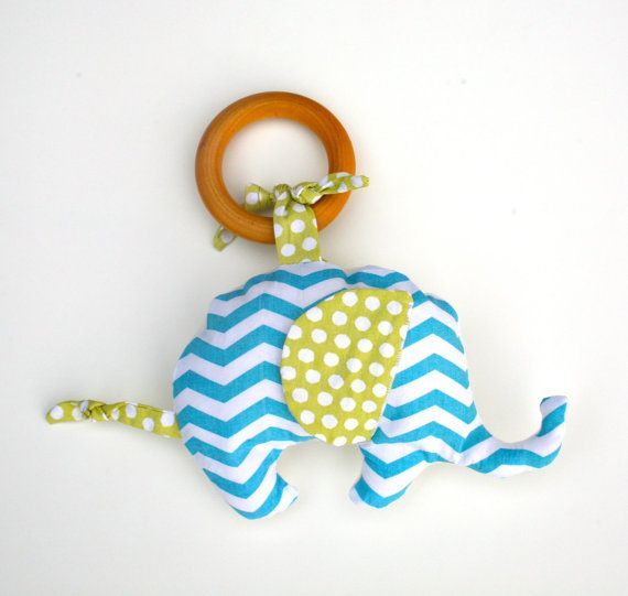 Organic Elephant in Chevron Blue TEETHING ring by GrowingUpWild, $18.00