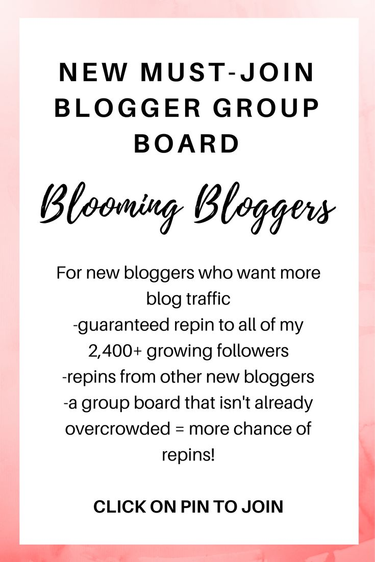 New Blogger Group Board- Blooming Bloggers