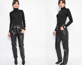 Vintage 90er Jahre Motorrad schwarz echtes Leder High-Waist Hosen / Genuine Leder schwarz Biker Hose