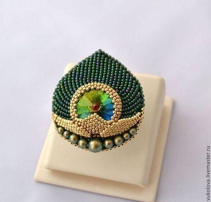 Inele realizate manual.  Masters Corecte - manual.  Cumpara Ring Mayurattam (Majurattam).  Handmade.  Verde închis, pene de păun