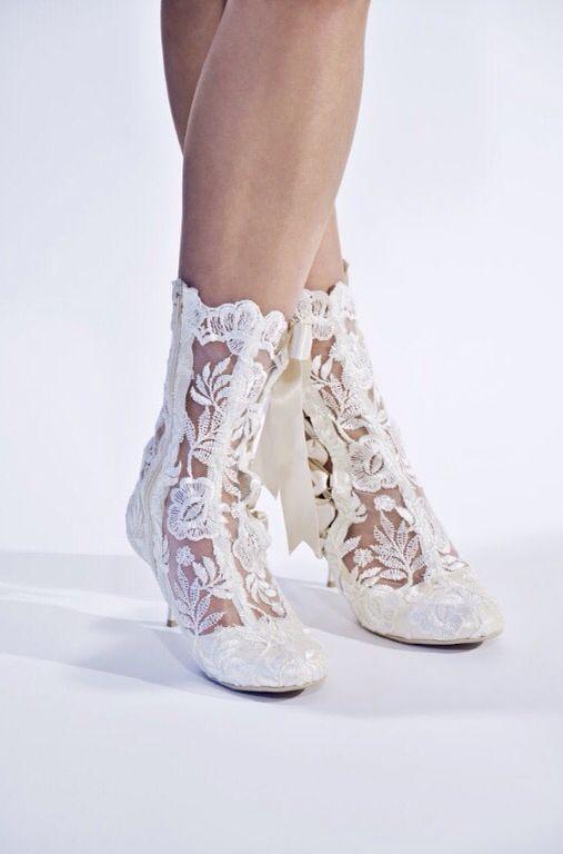 Our beautiful 'Lottie Elliot' lace wedding boots. Photo Credits | Photography - @danielmoncoeur | Model - @tarakirsty_ |