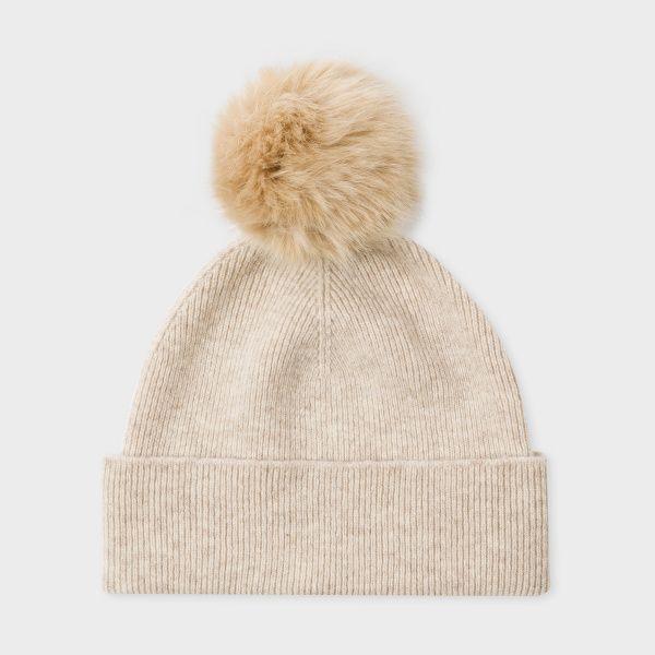 Paul Smith Women's Beige Faux Fur Bobble Hat