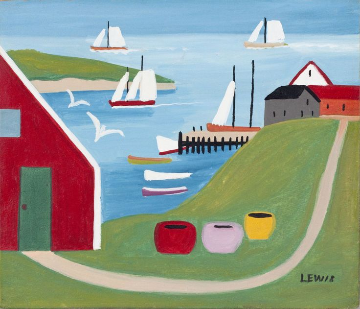 Sailboats in the Harbour Maud Lewis Oil on Board (11.5x13.5 in) circa 1958