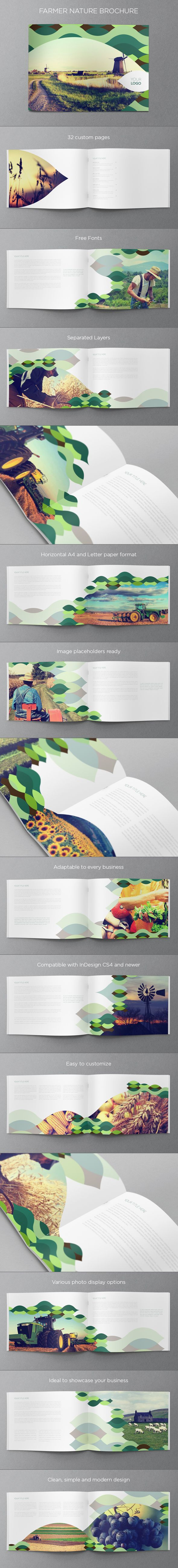 Farmer Nature Brochure. Download here: http://graphicriver.net/item/green-nature-brochure/6151806?ref=abradesign #design #brochure // Repinned by www.lunik2.com